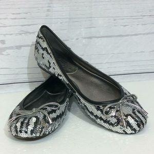 Coach Liah Snow Leopard Sequin Ballet Flats 5B